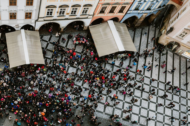 High angle view of people on street against buildings
