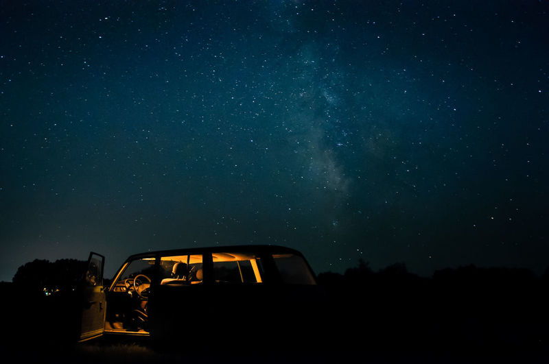 Starry Night Car Motor Vehicle Sky Nature Astronomy Beauty In Nature No People Outdoors Galaxy Road Trip Space
