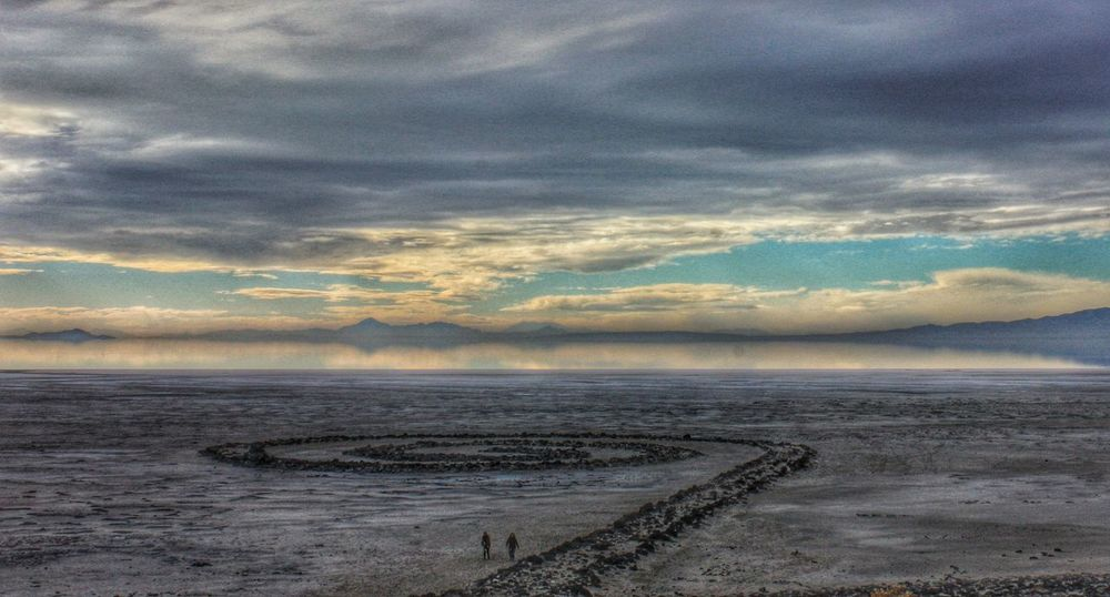 Visitors to the Spiral Jetty Spiral Jetty Great Salt Lake Great Salt Lake Shoreline Sunset Landscape Landscapes With WhiteWall The Great Outdoors With Adobe