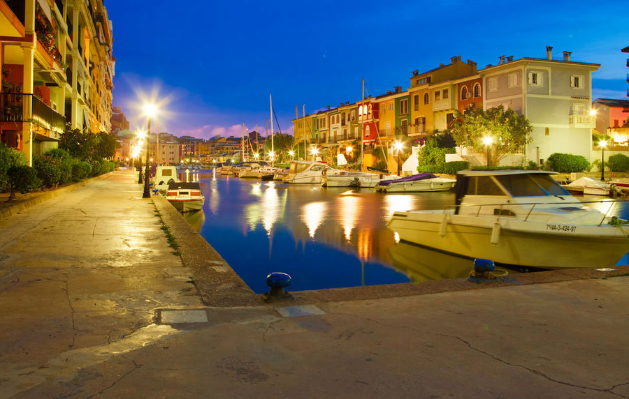 Port Saplaya in Valencia Architecture Blur Hour Built Structure Canal City City Life Light Night Nihgt Outdoors Port Saplaya Sky Valentine's Day  Water Water Reflections Yacht Yachtclub Yellow