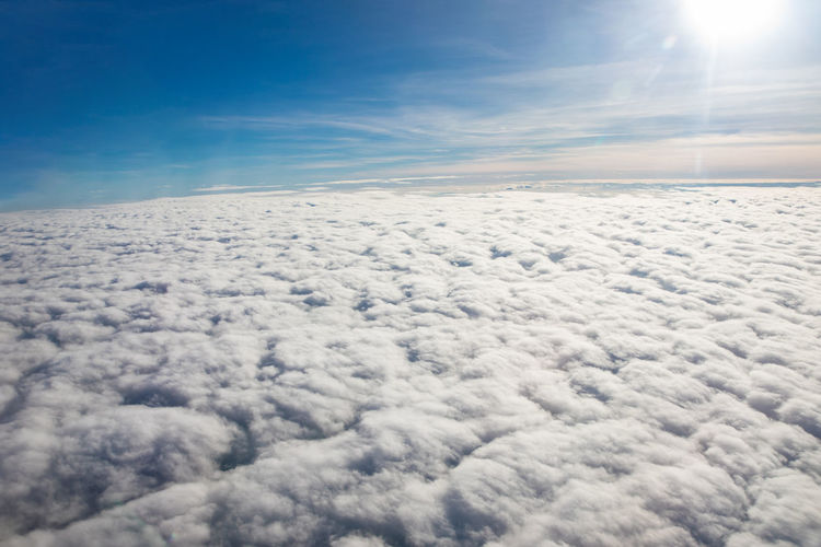 Scenic view of cloudscape against sky on sunny day
