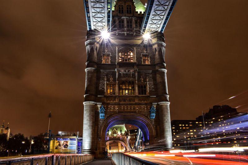 London Tower Bridge Illuminated Night Architecture Built Structure Light Trail Long Exposure Blurred Motion Speed City
