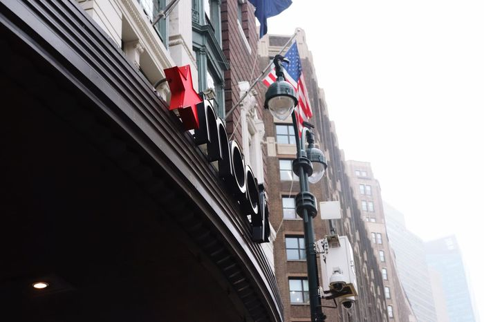 Macys Manhattan New York EyeEm Selects Architecture Building Exterior Low Angle View Built Structure Building Flag City Sky Hanging Day No People Residential District Nature Clear Sky Outdoors Lighting Equipment Red Decoration