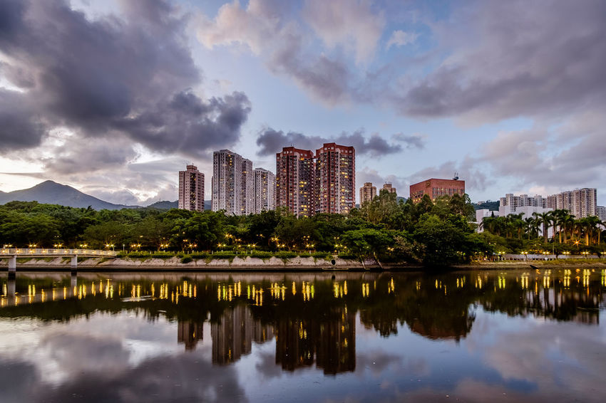 ASIA Hong Kong Sha Tin Shing Mun River Architecture Building Exterior Built Structure City Cityscape Cloud - Sky Modern Outdoors Reflection Sky Urban Skyline Water Waterfront