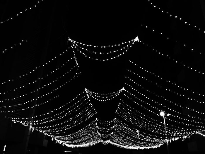 Monochrome Photography Illuminated Low Angle View Architecture Sky ShotOniPhone6 IPhoneography VSCO Mobile Photography Selective Focus No People VSCO Cam IMography Shot On IPhone Iphonephotography IPhone Photographer Light Lights Festival Lights VSCO Filters Welcome To Black