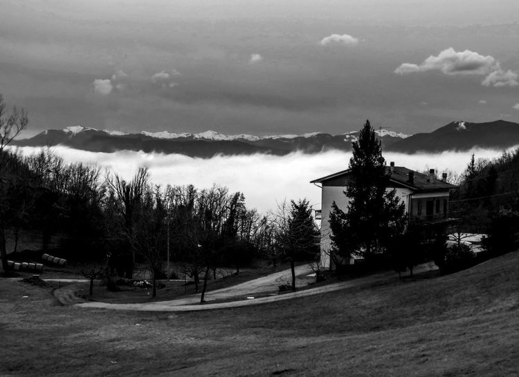 Fog in Emilia Romagna Cloud Emilia Romagna Sky And Clouds Architecture Beauty In Nature Black Black And White Black And White Photography Building Exterior Built Structure Close-up Cloud - Sky Clouds Day Fog Landscape Mountain Nature No People Outdoors Scenics Sky Tranquility Travel Destinations Tree