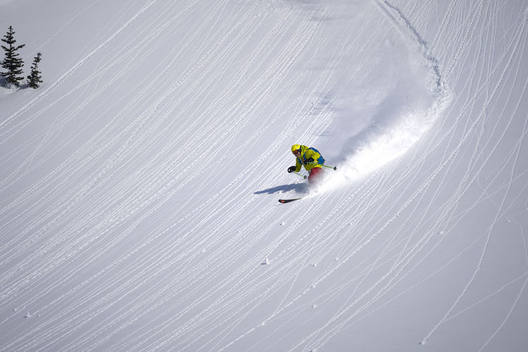 View of person skiing on snow