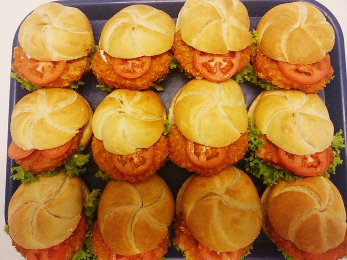 Directly Above View Of Hamburgers On Tray