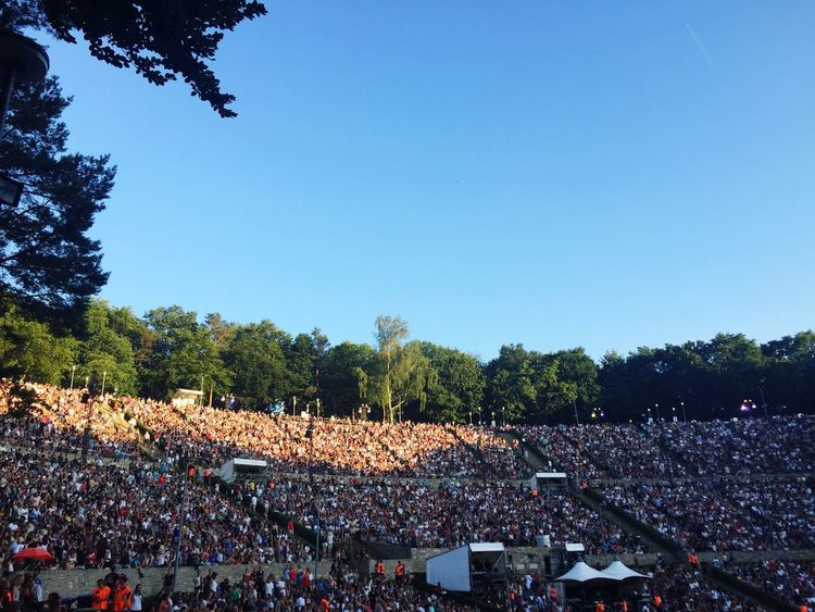 Large Group Of People Crowd Real People Enjoyment Music Leisure Activity Music Festival Abundance Clear Sky Arts Culture And Entertainment Togetherness Tree Popular Music Concert Fun Audience Outdoors PxP Waldbühne