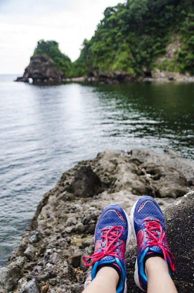When you just have to sit and take it all in Beauty In Nature Eyeem Philippines Kicks Out Of The Box Rock - Object Sneakers Water Breathing Space An Eye For Travel Love Yourself