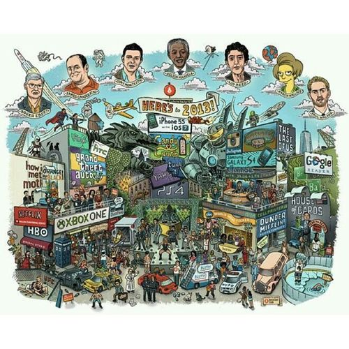 Everything that happened in 2013 in one image. Comment nyo ang alam nyo na nakalagay sa pic nato. ??? Flashback ReminiscingThePast 2013Memories Art Doodle