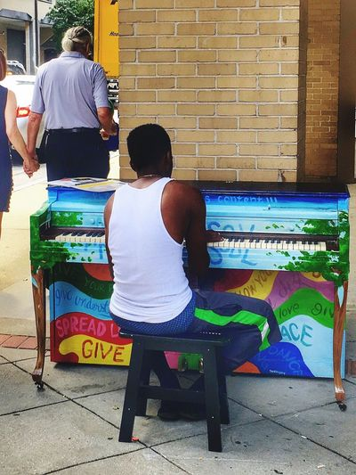 Creativity Is Where You Find It Street Musician Piano Man Leisure Activity Real People Musicianlife Lifestyles Spur Of The Moment Shot Outdoors Piano Time