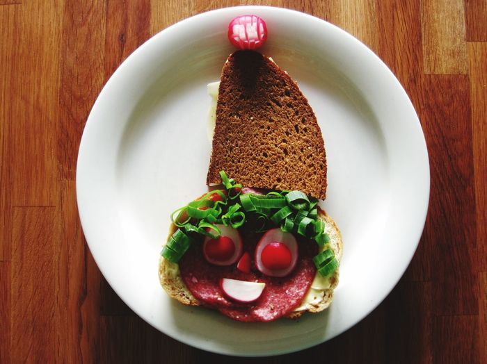 Plate With Sandwich On Table
