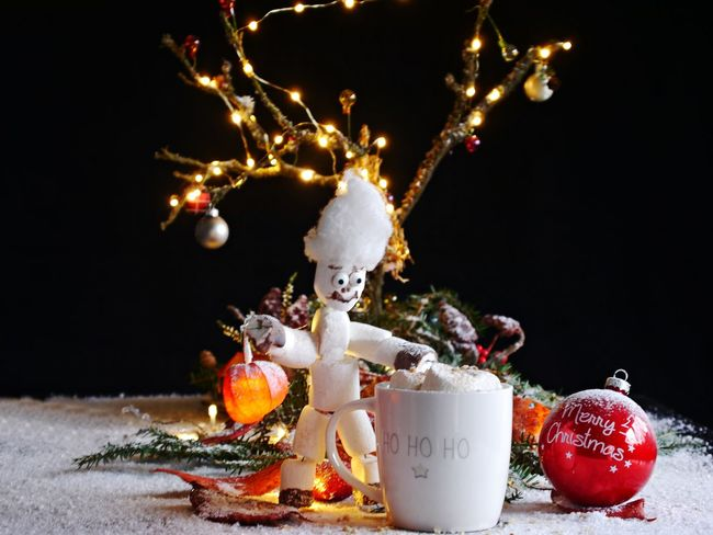 ArtWork Food And Drink Marsmellows Celebration Christmas Christmas Decoration Christmas Ornament Close-up Day Freshness Gooseberry Illuminated Indoors  Marshmellow Man No People Snow Text Tradition