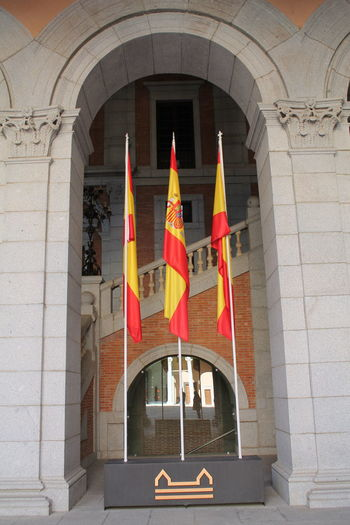 Spanish Flags, Spanish Army Museum No Filters Or Effects No Filter, No Edit, Just Photography Spanish Army Museum Toledo Spain Arch Architecture Building Exterior Built Structure Day Flag History No People Outdoors