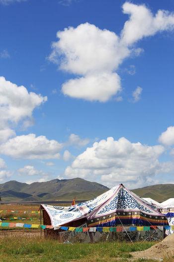 Plateau Tibet Tibet Travel Sky Cloud - Sky Nature Day Land Scenics - Nature Beauty In Nature Tent Non-urban Scene Landscape Outdoors Sunlight No People