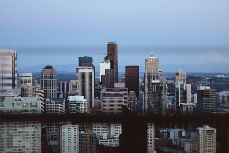 Melancholy Skyscraper Cityscape Modern Downtown District Architecture Building Exterior High Angle View Urban Skyline Office Building Exterior Illuminated City City Life Sky Aerial View Outdoors Travel Destinations No People Night