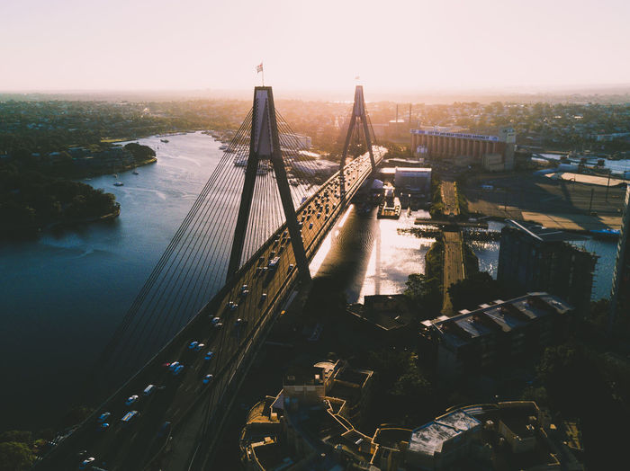 Sunset view of Anzac Bridge, Sydney ANZAC Bridge Australia Drone  EyeEmNewHere Sydney, Australia Aerial Aerial View Architecture Bridge - Man Made Structure Built Structure City Cityscape High Angle View River Sunset Sydney Travel Destinations Water Week On Eyeem Mobility In Mega Cities Stories From The City The Architect - 2018 EyeEm Awards Summer Road Tripping The Traveler - 2018 EyeEm Awards The Street Photographer - 2018 EyeEm Awards #urbanana: The Urban Playground A New Beginning A New Perspective On Life Capture Tomorrow