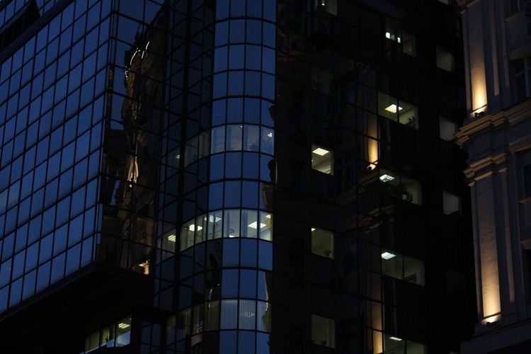 Night Lights Architecture Built Structure Building Exterior City Building No People Illuminated Travel Business Finance And Industry Outdoors Glass - Material Government Business Night Low Angle View Tourism Modern Office Building Exterior Travel Destinations