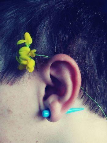 That's Me Macro That's Me! Ear Flower Hair Profile HEAD Wear Flowers In Your Hair Ear Piercing Ear Gauges