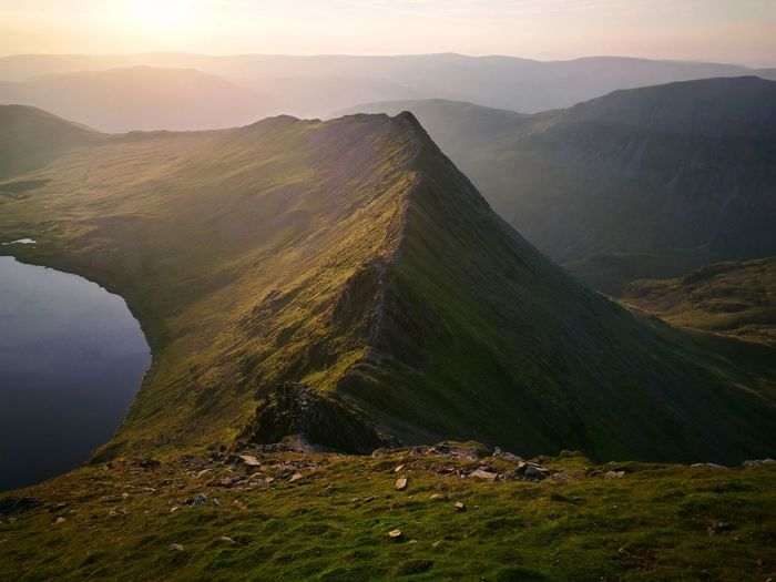 Scenic View Of Striding Edge Mountain By Lake During Sunset