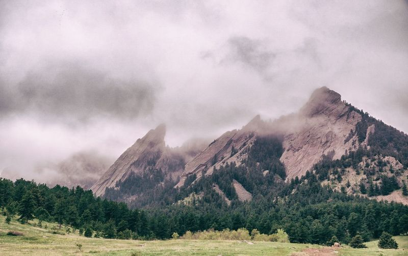 The Flatirons wreathed in fog, Chautauqua Park. Day Flatirons Fog Geology Landscape Mountains No People Rock Formation Scenics The Great Outdoors - 2016 EyeEm Awards Trees Weather