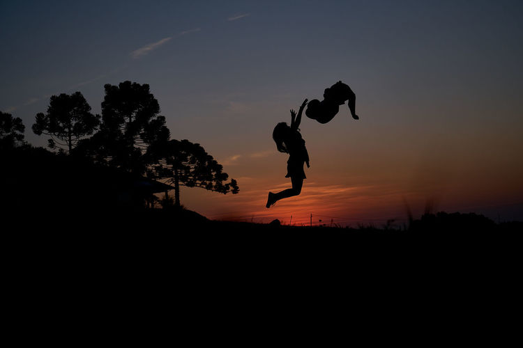 Silhouette Man Jumping On Tree Against Sky