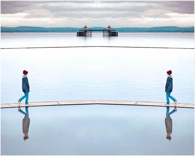 Clevedon blues Blue Surrealism Mirrored EyeEm Selects Water Cloud - Sky Sky Reflection Real People Nature Beauty In Nature Nautical Vessel Sea Scenics - Nature Full Length Standing Day Two People Lifestyles Outdoors