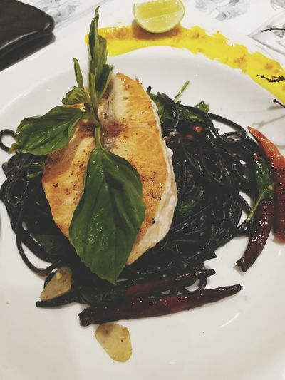 Spaketty Black Color Salmonsteak Delicious Food And Drink Freshness Ready-to-eat Food Plate Indoors  Appetizer Herb Close-up Healthy Eating Serving Size No People Leaf