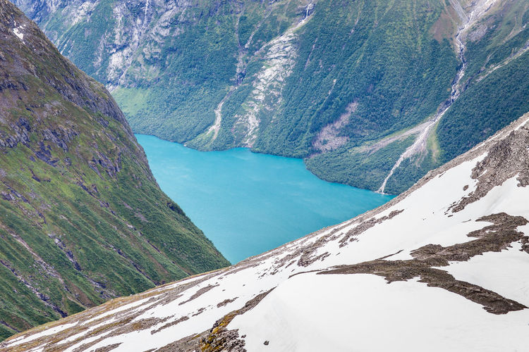 Beauty In Nature Blue Cold Temperature Day Fjore Hiking Jostedalsbreen Landscape Mountain Mountain Climbing Mountain Peak Nature No People Norway Outdoors Scenics Skala Sky Snow Steep Triangle Shape View From Above Water Waterfall The Great Outdoors - 2017 EyeEm Awards