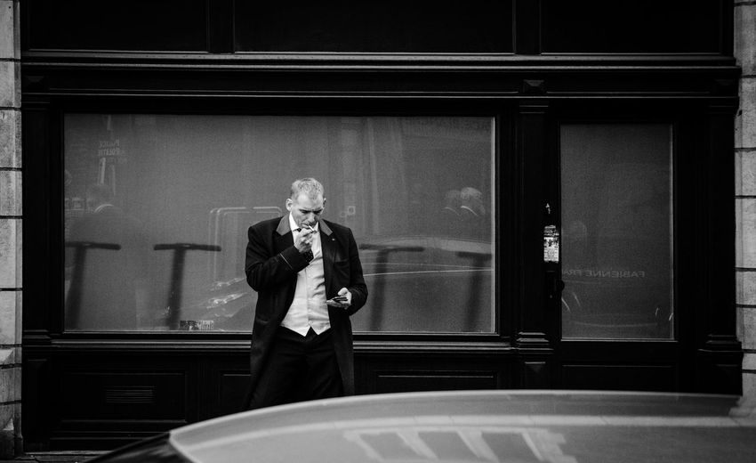 Man smoking in the streets of brussels