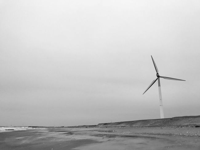 Sea Wind Turbine Alternative Energy Wind Power Beach Sand IPhone7Plus IPhoneography The Great Outdoors - 2017 EyeEm Awards Focus On The Story