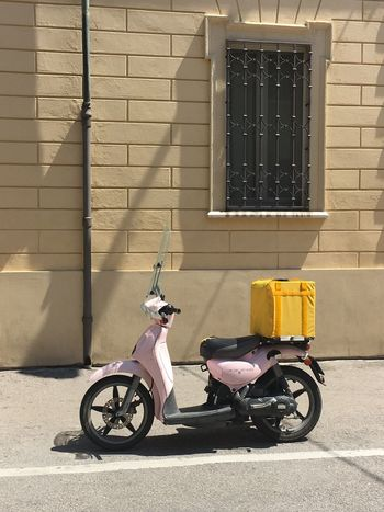 Transportation Mode Of Transport One Person Scooter Ravenna, Italy Pink Contrast Old And New