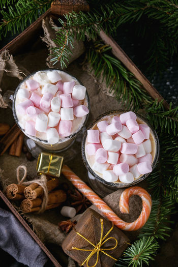 High angle view of marshmallow drink by pine needle in tray