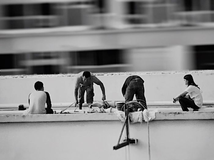 Building Exterior Real People Architecture Built Structure Men Outdoors Day Water Manual Worker People Work Working Leak Leaking Fix  Fixing Randomshot Working Hard Blackandwhite Black And White Black & White Monochrome Random Work In Progress Workers The Photojournalist - 2017 EyeEm Awards The Photojournalist - 2017 EyeEm Awards