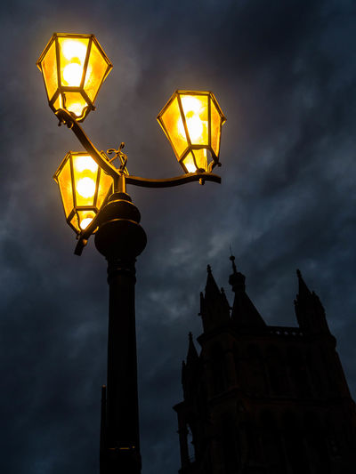 Built Structure Cathedral Catherdral Churches Cloud - Sky Cloudy Dusk Gothic Illuminated Lighting Equipment Low Angle View Night Night View No People Outdoors Sky Street Lamp Street Light