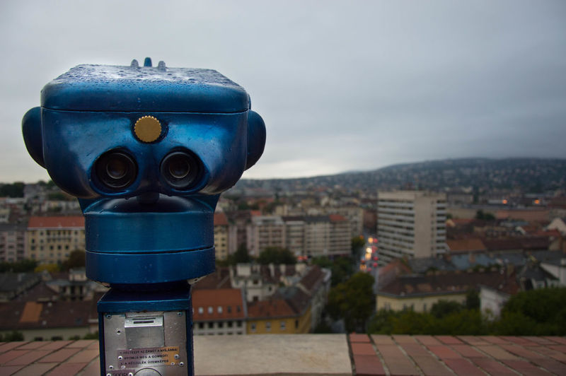 EyeEm Selects Coin-operated Binoculars Cityscape City No People Focus On Foreground Outdoors Day Sky