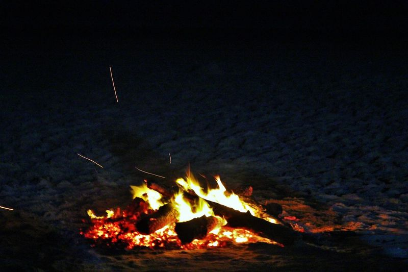Beach Burning Camping Dark Fire Fire Camp Light Night No People