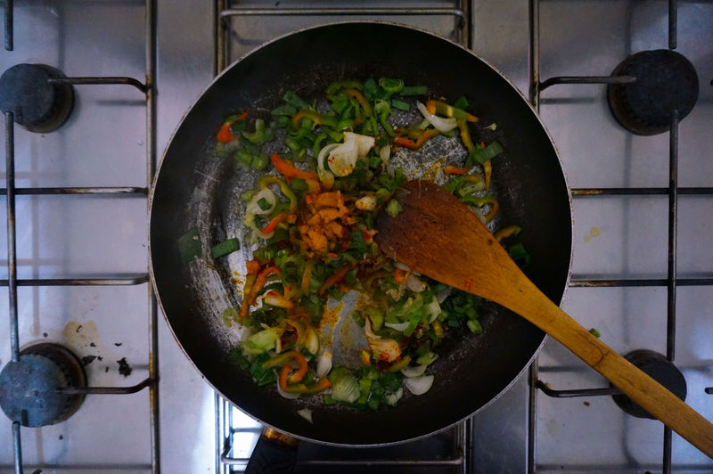 Directly Above Shot Of Vegetables In Frying Pan