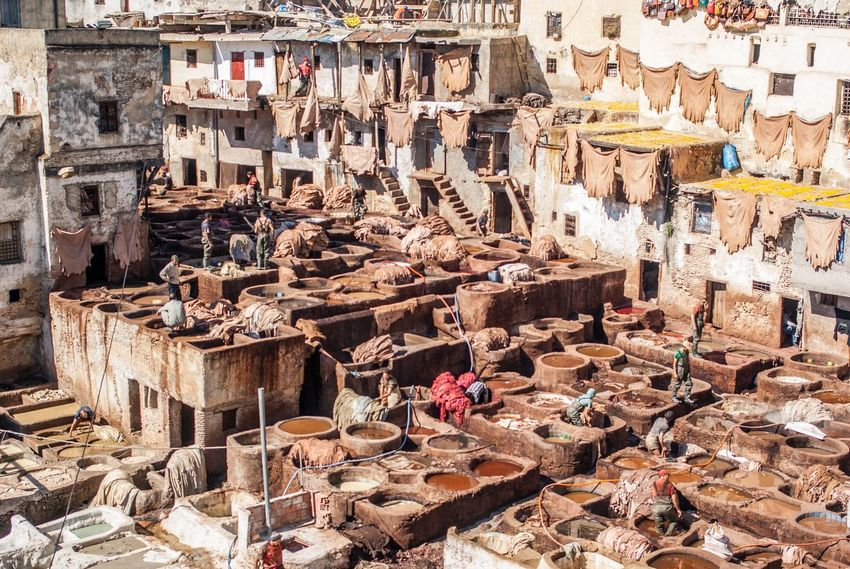 Africa Built Structure Factory Fes Leather Morocco Production Tannery Travel