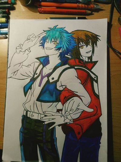 Another draw of mine of the great dueling couple Jesse Anderson and Jaden Yuki! Yugioh Anime Art Anime Drawing