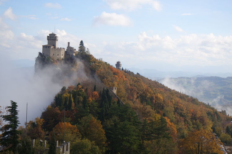 Autumn Beauty In Nature Europe Europe Trip Medieval Mountain Outdoors San Marino Tower Tree Lost In The Landscape