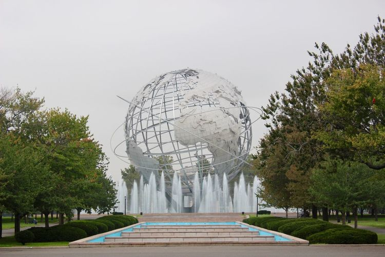 Travel Photography New York Flushing Meadow Park Flushingmeadows Unisphere Grey Sky Fountain Fountains Architecture Architecture_collection Iphonephotography IPhoneography