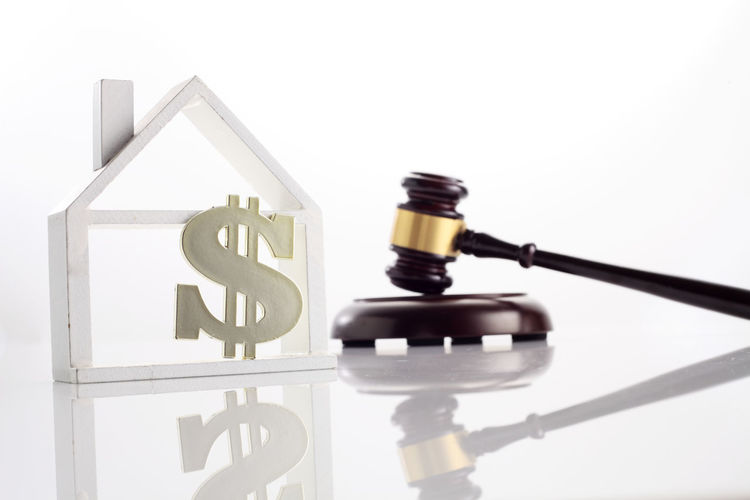 gavel hammer with model house with dollar sign on the white background Court Dollar Sign Bail Bankrupt Barrister Bidding Close-up Concept Courtroom Dollar Focus On Foreground Gavel Hamm Hammer Indoors  Lawsuit Legal Mortgage No People Property Law Real Estate Reflection Still Life Studio Shot Transparent White Background