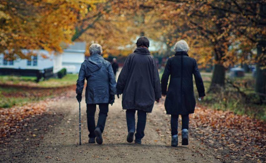 Rear view of women walking on footpath during winter