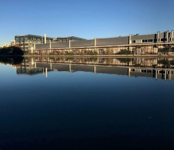 Pantin, France ShotOnIphone Water Architecture Reflection Waterfront Sky Built Structure Clear Sky Building Exterior Copy Space No People Building Blue Day City Outdoors
