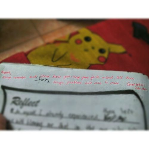 Teacher Belen's note/advice to my Reflect answer. Thankyou Cher! :) :* CareandConcern ConsecutiveTrials XD EnglishCarabao </3