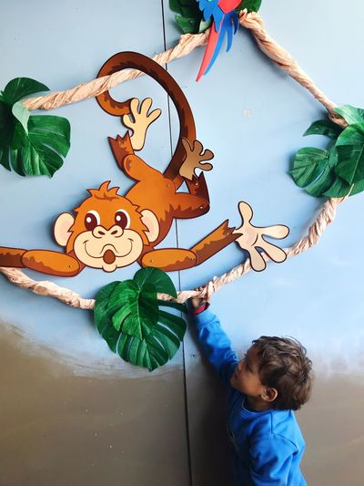 Hello monkey 🐒 Wall Art Indoor EyeEm Selects Childhood Art And Craft Child One Person Representation Creativity Real People Nature Day Cute Decoration Casual Clothing Toy Baby Outdoors Craft Innocence