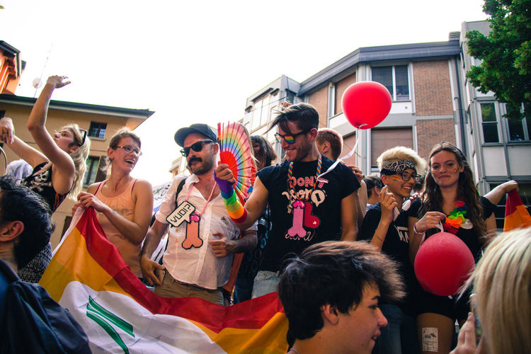 Gay Pride in Reggio Emilia ( 3rd June 2017 ) to protest against Xenophobia, Homophobia and for Gay Marriage and rights Day Fun Gay Pride Men People Real People Smiling The Photojournalist - 2017 EyeEm Awards The Street Photographer - 2017 EyeEm Awards Togetherness