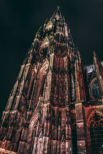 Kölner Dom Building Exterior Built Structure Architecture Low Angle View Place Of Worship Religion Belief Building Spirituality Travel Destinations Night History The Past Tourism City Tall - High No People Gothic Style Spire